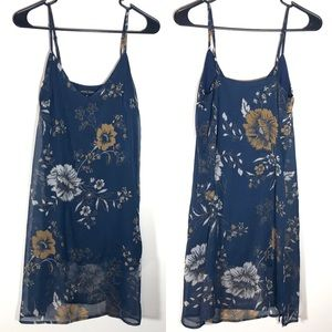 Kendall & Kylie Navy Blue Floral Mini Slip Dress